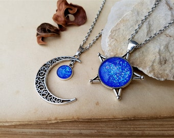 2 Star and Moon Necklaces, best friends jewelry, matching necklaces, best friends gift idea, star necklace, moon necklace, Mermaid Necklace