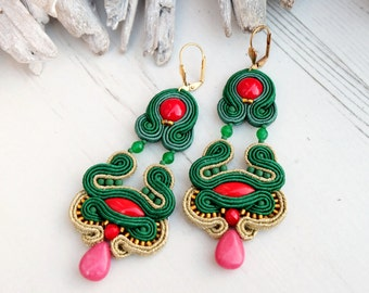 Red Green Soutache Earrings-Oriental Chandelier Earrings-Retro Earrings-Dangle Beaded Earrings-Boho Hippie Earrings-Large Statement Earrings