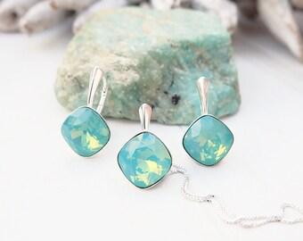 Green opal Swarovski square crystal earrings necklace set Sterling Silver jewellery Cushion cut crystal drop bridesmaids wedding earrings