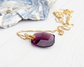 Amethyst Swarovski crystal pendant necklace 24k gold plated wedding bridesmaid necklace jewellery Eggplant purple graphic Bridesmaids gift
