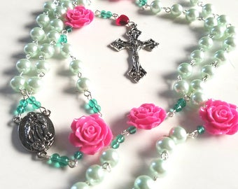 Lady of Guadalupe Roses Trimmed Rosary