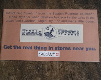 """Swatch Tatoo for """"Sketch"""" from the Swatch Roarings Collection, ad for Swatch Watch"""