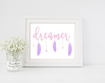Dreamer art print for baby nursery, children's room, or home decor