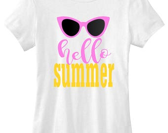 Hello summer  graphic t-shirt funny ladies girls women tee tumblr instagram gift girls