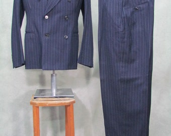 1930s Suit Mens Vintage 3 Piece Suit Pin Stripe Blue Size 38L Harvey Bros Label
