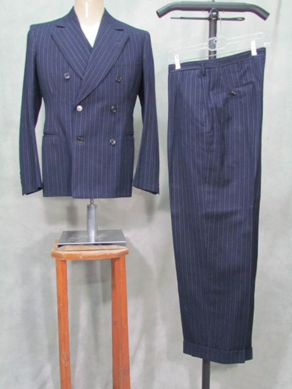 1930s  1940s Suit 38L 3 Piece Suit Pin Stripe Blue Size Harvey Bros Label