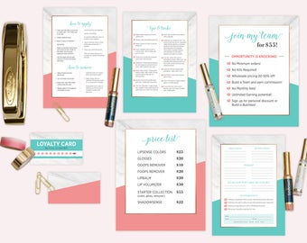 LipSense Marketing Material Set - Coral + Turquoise Marble Pattern  (7 items)
