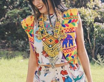 Creme Frida Kahlo High Waisted Americana Style Shorts Coachella Festival
