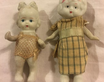 Two antique miniature bisque dolls