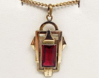Antique Edwardian / Art Deco Geometric Gold Filled Red Glass Pendant Necklace