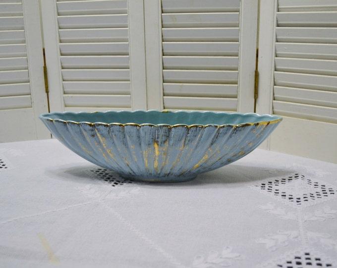 Vintage California Pottery Oblong Bowl Aqua Blue Gold Accents Mid Century Planter PanchosPorch