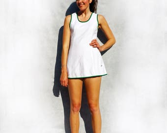 White Mini Dress, White Tennis Dress, 70s Mini Dress, Vintage Tennis Dress, Casual Dress, Short Dress, Vintage Sportswear, Sleeveless Dress