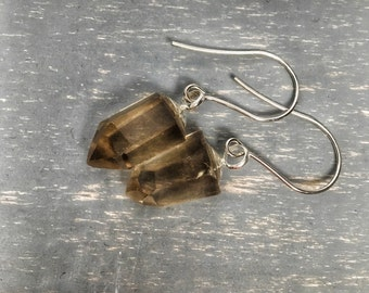 Natural crystal jewelry, crystal stone earrings, smoky quartz, sterling silver crystal point jewelry