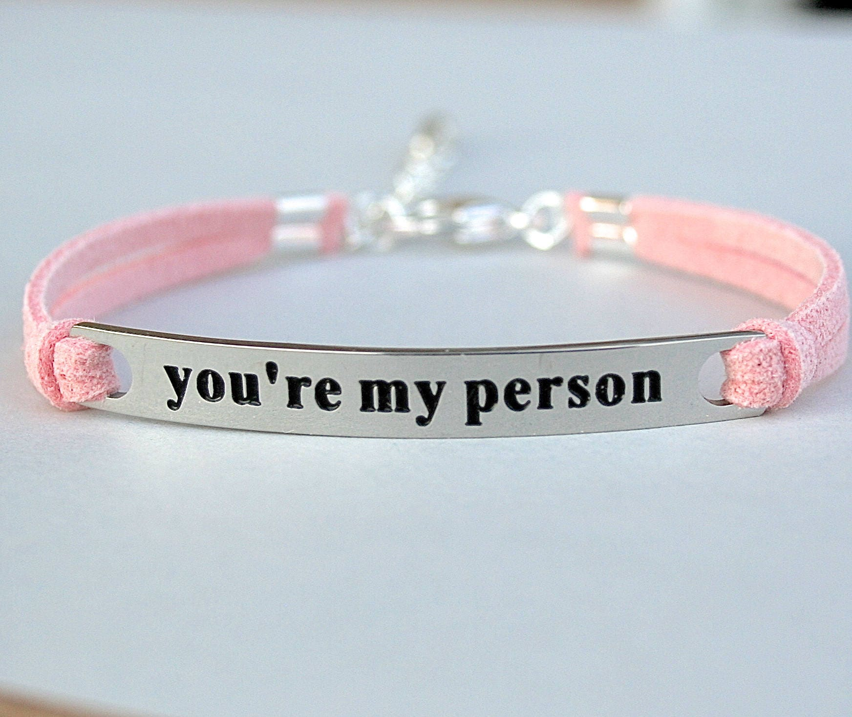 you re my person stainless steel bracelet faux suede