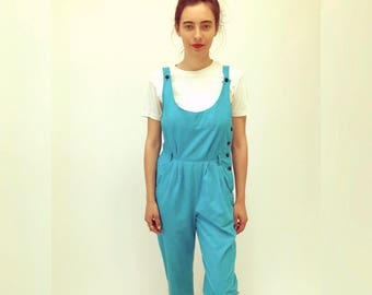 Echo Park Jumpsuit // vintage 80s cotton romper overalls boho hippie hipster bohemian hippy turquoise blue hipster dress 1980s // S Small