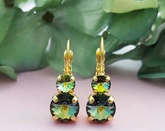 Green Crystal Earrings, Iridescent Earrings, Crystal AB Earrings, Rainbow Earrings, Green Opal, Moss Green, Gold Earrings, Swarovski, E3413