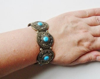 Southwestern Stretch Bracelet Vintage Western Metallic Zuni Mexican Turquoise Cowgirl Native American Style Jewellery Antique Silver Tone
