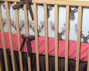 Bumper Pad - Baby Girl Bedding - Stag Bumper- Woodland Nursery - Stags Flowers - Coral Mint and Dark Taupe