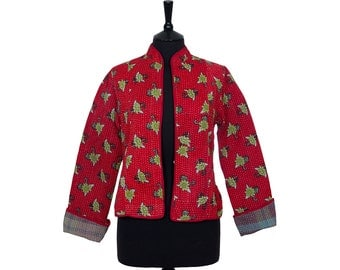 KANTHA JACKET - Medium - Short style - Size 10/12 - Red design. Reverse brown and blue plaid