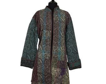 KANTHA JACKET - XXX Large - Long style - Size 20/22 - Aubergine and green. Reverse aubergine and green