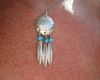 Sterling Silver Concho and Feathers Pendant with Turquoise Beads Necklace