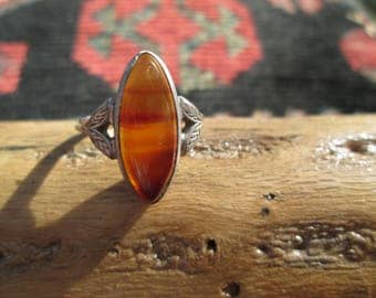 Carnelian and Sterling Silver Ring Size 6.5