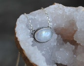 Sterling Silver Moonstone Necklace - Moonstone Jewelry