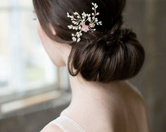 bridal hair pin, wedding hair pin, blush hair flowers, wedding hair flower, blush hair comb, bridal hair flower - SAKURA