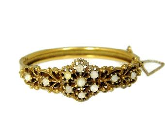 Vintage Victorian Crystal Opal Hinged Bangle Bracelet Ornate