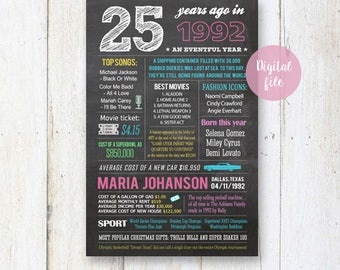 25th birthday gift for her - Personalized 25th birthday gift for best sister daughter girlfriend best friend - Fun facts 1992 sign DIGITAL!