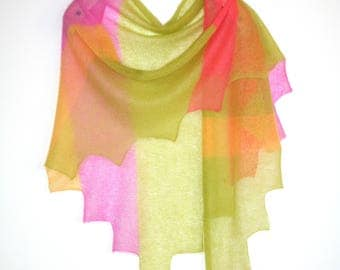 Colorful scarf made of finest mohair knitted, green, pink, orange, yellow, handmade