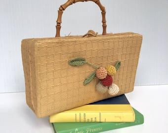 Vintage Straw Purse, 1950's box purse, Raffia handbag, Made in Japan