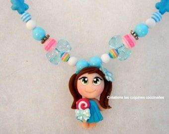 Necklace candy necklace bracelet, candy girl, collar girl, fimo, Hickey, daughter gift, polymer clay pendant necklace necklace, gift