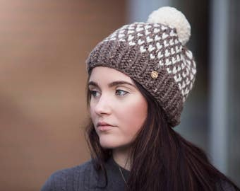 Brown Polka Dot Pom Pom Hand Knit Hat