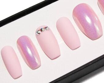 Matte Pink Fake Nails - Coffin Press On Nails - Holographic Acrylic Nails - Crystal False Nails - Opalescent Faux Nails - Iridescent Nails