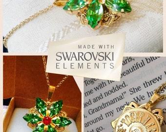 "Anastasia ""Together in Paris"" Necklace with Swarovski Crystal Gems Peridot Green Ruby Handmade Replica 16K Flower Charm Cosplay"