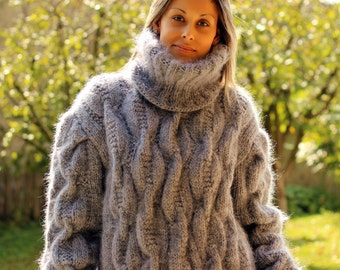 New Cable Hand Knitted Mohair Sweater Light Grey Fuzzy Turtleneck Jumper Pullover Jersey by Extravagantza MADE to ORDER