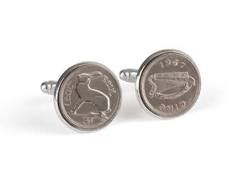 Irish Coin Cufflinks, 50th Birthday Cufflinks, 50th Birthday Ideas, 50th Birthday Gift for Men, 1967 Cufflinks, 1967 Birthday, Hare Cufflink