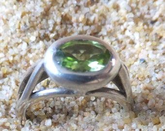 Peridot and Sterling Silver Ring...... size 5 only