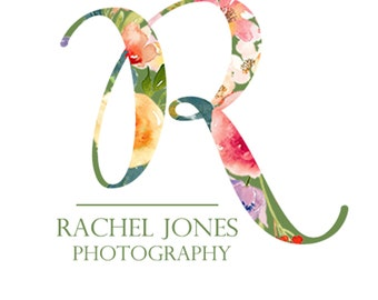 Photography Logo and Watermark, Premade Watercolor Floral, Calligraphy Script Font Logo Design