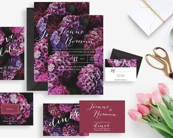 Printable wedding stationery kit: wedding invitation + rsvp, save the date, diner invitation, thank you card -Hydrangea floral chic wedding