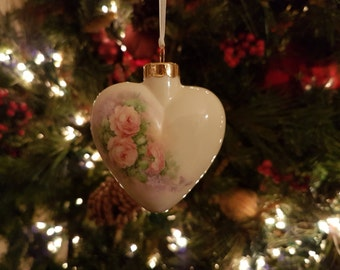 Pink 'Cascading Roses' Heart Ornament