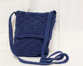 Blue knit purse,small, Blue, Knit ,Shoulder Bag