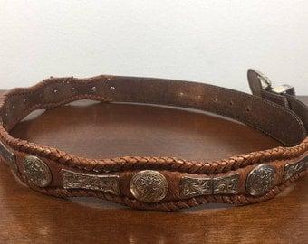 "Tony Lama Concho Belt, 34"" Brown Leather Belt, Silver Tone, Buckle, 1995"