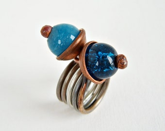 Copper ring, blue ring, wrapped copper ring, rustic ring, wire wrapped ring, blue glass bead ring, boho ring, blue ring, rustic copper ring