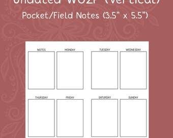 Traveler's Notebook Field Notes Undated WO2P Calendar Insert [PRINTED]
