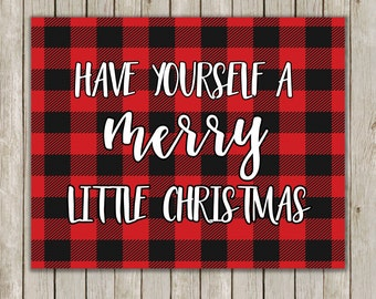 8x10 Have Yourself A Merry Little Christmas Print, Typography Art, Buffalo Check Art Poster, Plaid Holiday Decor, Instant Download
