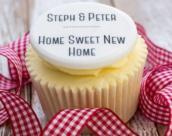 New Home Cupcake Toppers - personalised edible sugar cupcake decorations (pack of 12)