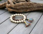 Gypsy Soul Tassel Bracelet - Wood Beaded Boho Tassel Bracelet - Casual Bracelet for Her - Vegan Bracelet