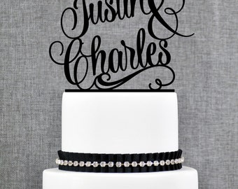 Name Cake Topper, Personalized Cake Topper, Wedding Cake Topper, Scripted Cake Topper, Calligraphy Cake Topper, Monogram Cake Topper (T205)